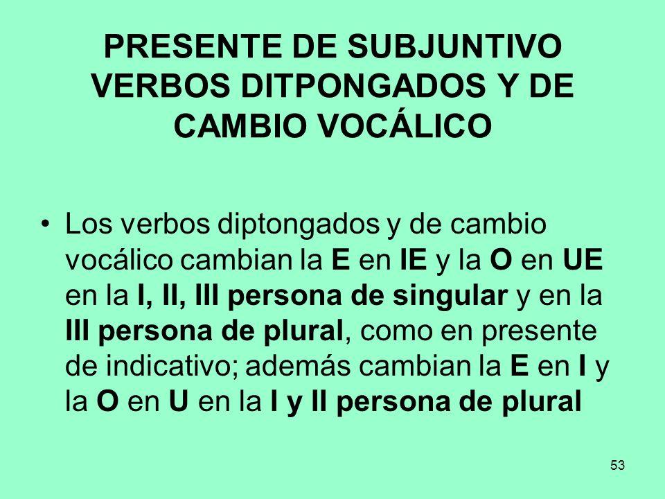 PRESENTE DE SUBJUNTIVO VERBOS DITPONGADOS Y DE CAMBIO VOCÁLICO