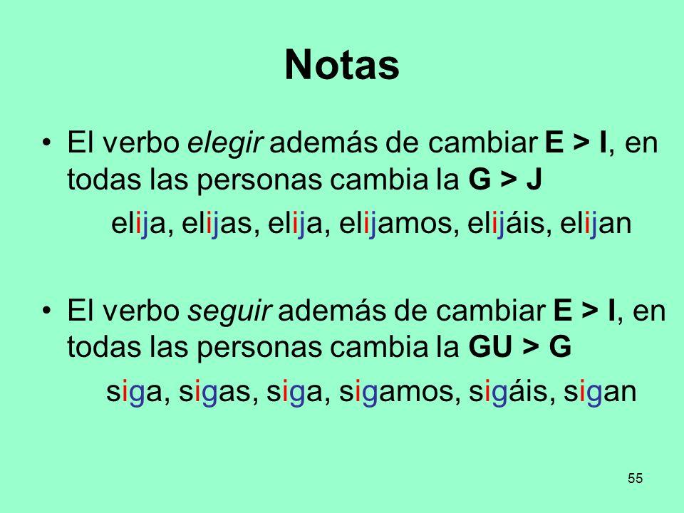 Notas El verbo elegir además de cambiar E > I, en todas las personas cambia la G > J. elija, elijas, elija, elijamos, elijáis, elijan.