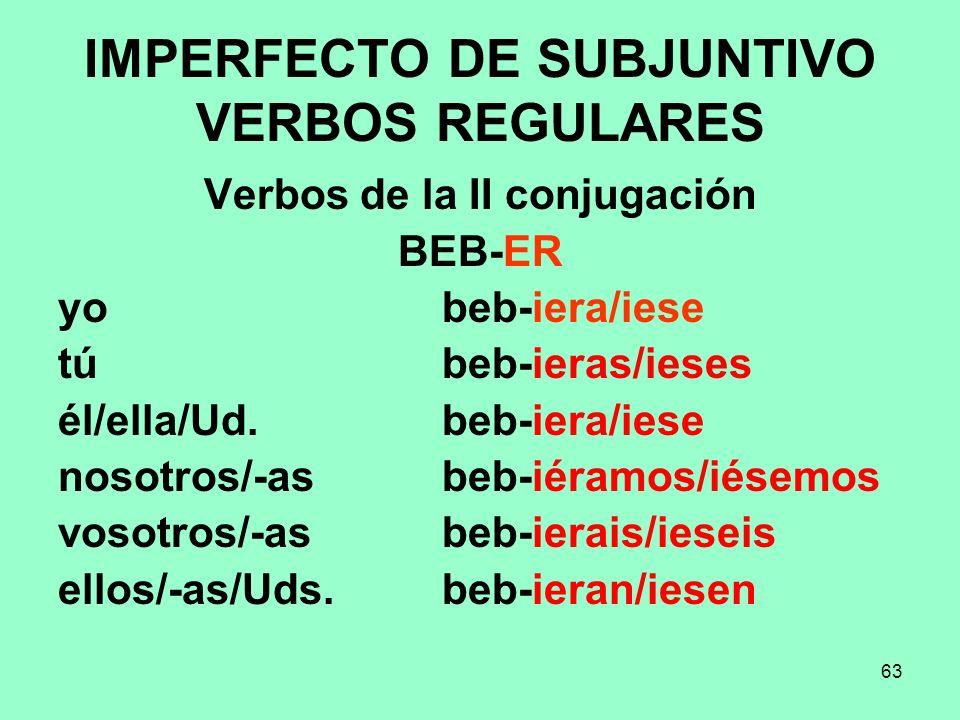 IMPERFECTO DE SUBJUNTIVO VERBOS REGULARES