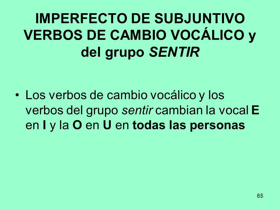 IMPERFECTO DE SUBJUNTIVO VERBOS DE CAMBIO VOCÁLICO y del grupo SENTIR