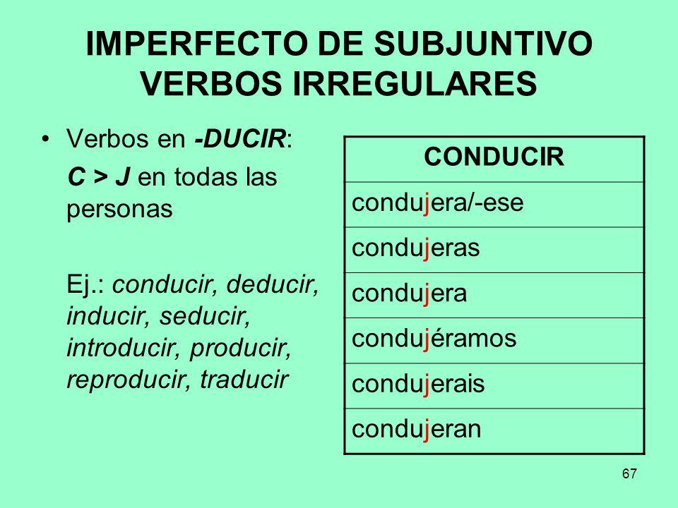 IMPERFECTO DE SUBJUNTIVO VERBOS IRREGULARES