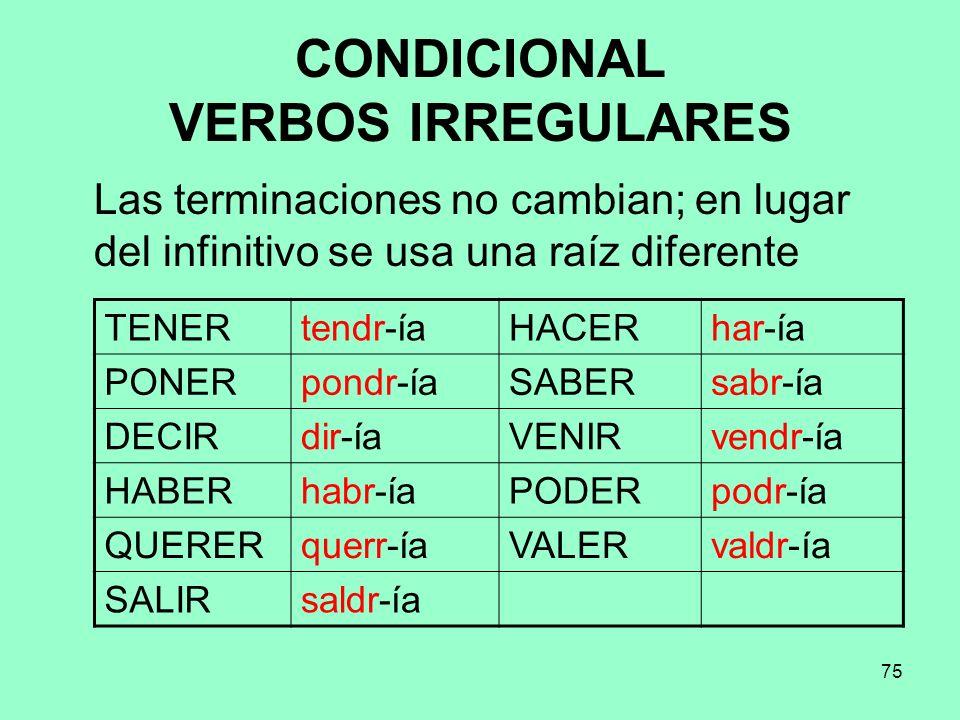CONDICIONAL VERBOS IRREGULARES