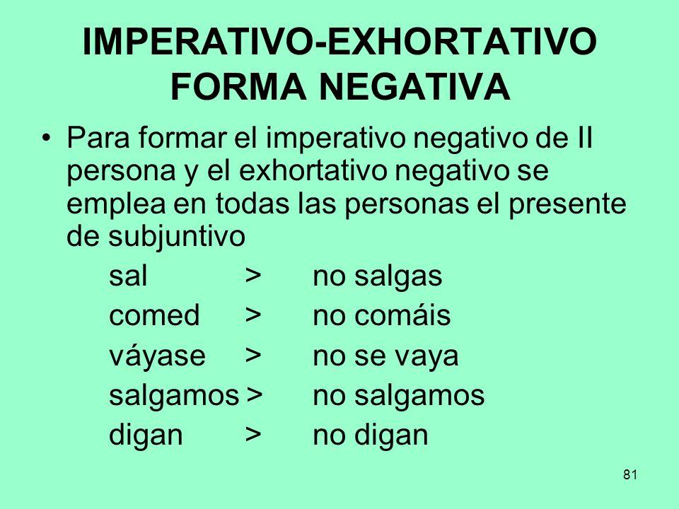 IMPERATIVO-EXHORTATIVO FORMA NEGATIVA