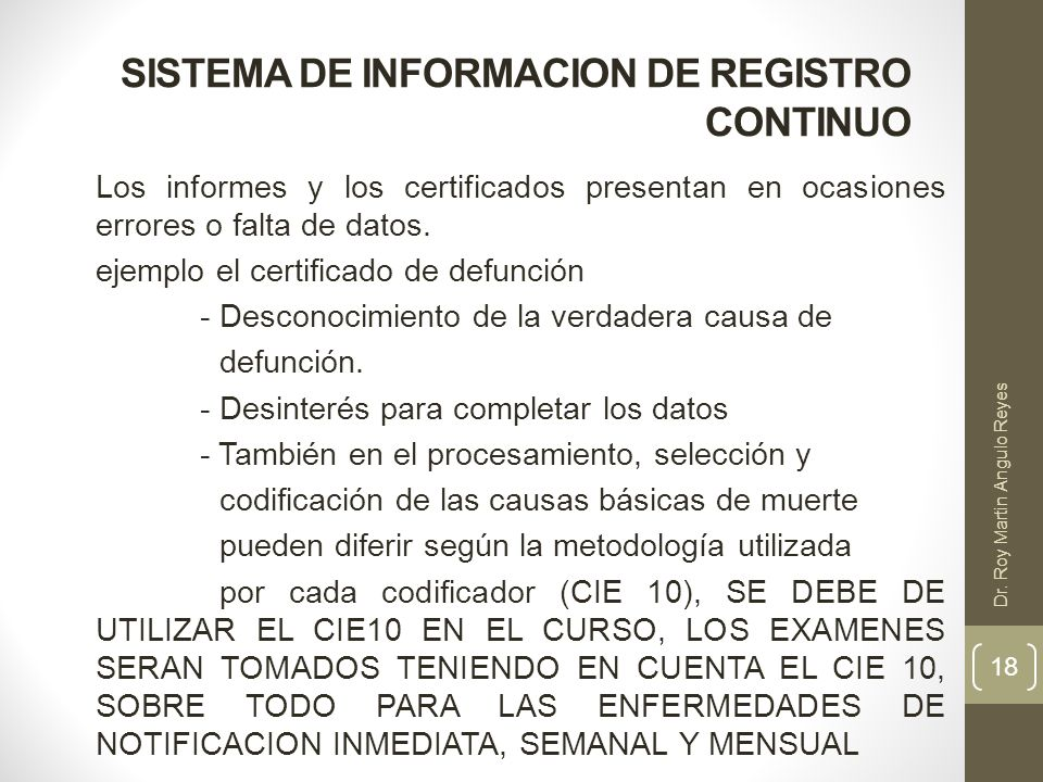 SISTEMA DE INFORMACION DE REGISTRO CONTINUO