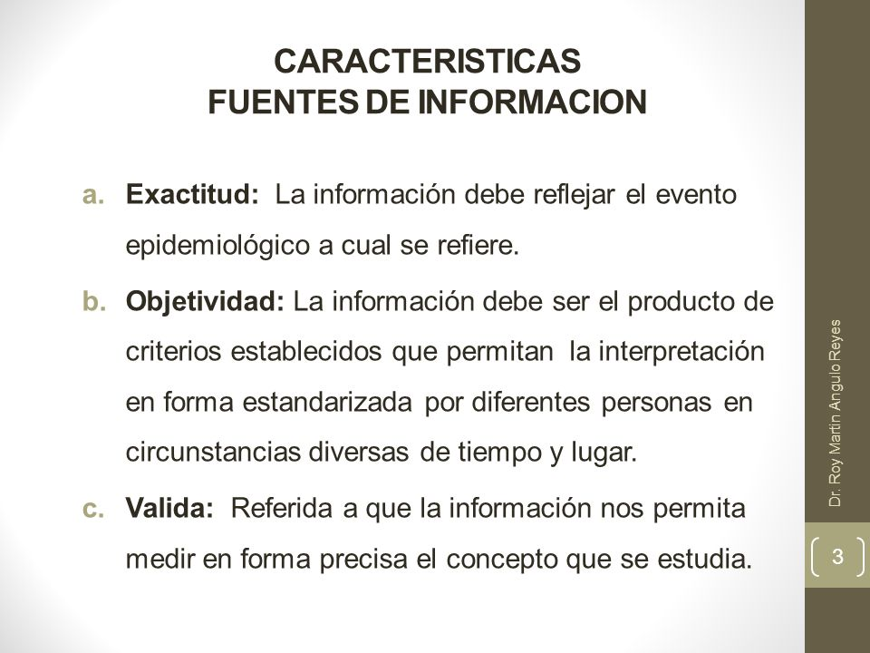 CARACTERISTICAS FUENTES DE INFORMACION