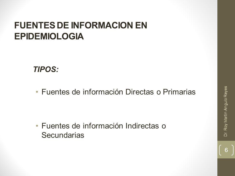 FUENTES DE INFORMACION EN EPIDEMIOLOGIA