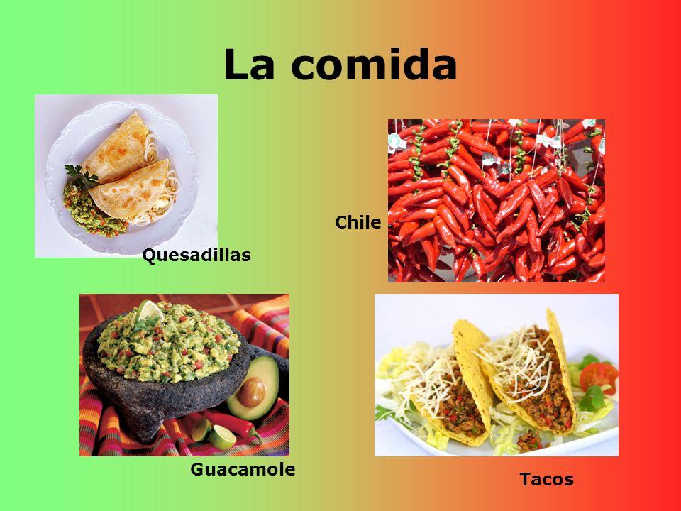 La comida Chile Quesadillas Guacamole Tacos