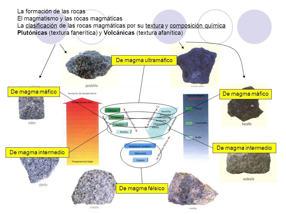 La formación de las rocas El magmatismo y las rocas magmáticas La clasificación de las rocas magmáticas por su textura y composición química Plutónicas (textura fanerítica) y Volcánicas (textura afanítica)