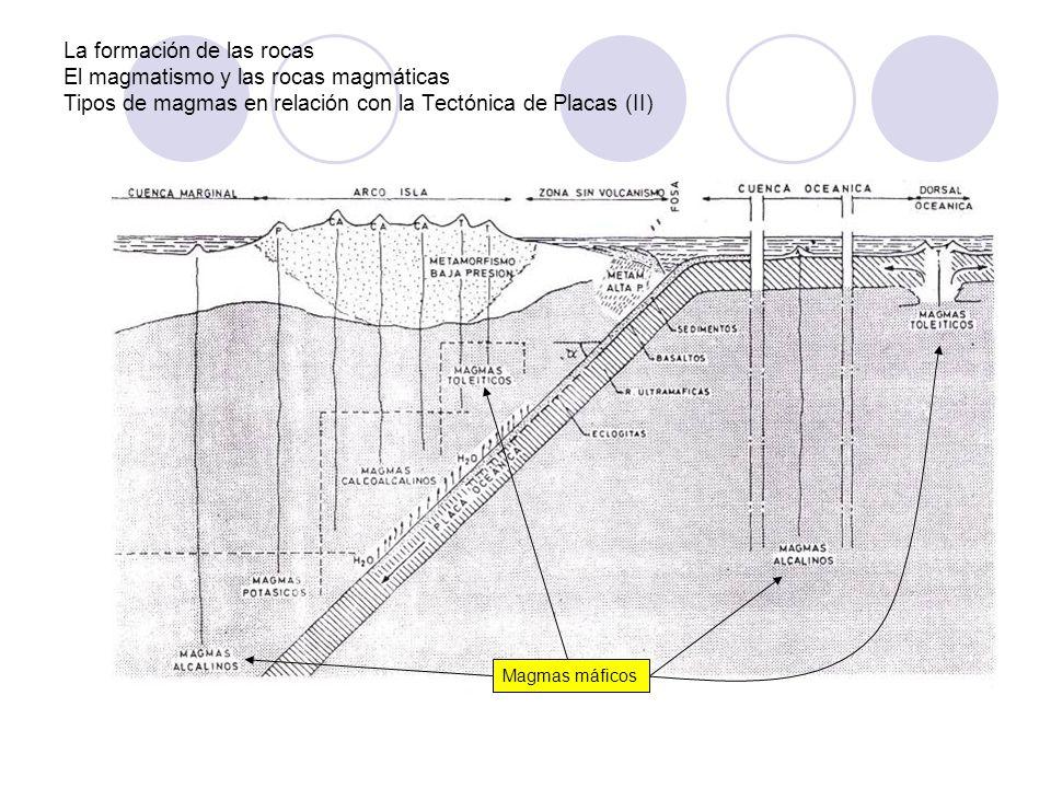La formación de las rocas El magmatismo y las rocas magmáticas Tipos de magmas en relación con la Tectónica de Placas (II)