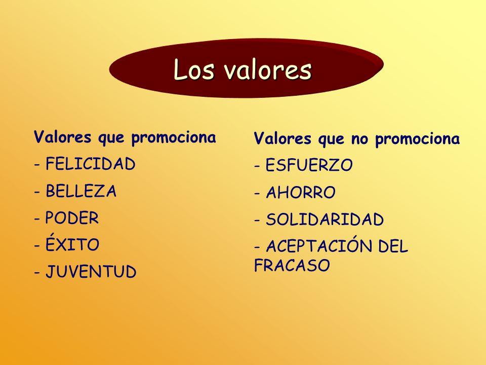 Los valores Valores que promociona Valores que no promociona