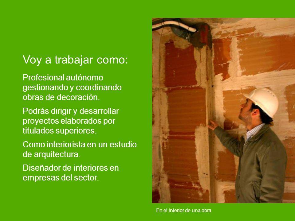 Voy a trabajar como: Profesional autónomo gestionando y coordinando obras de decoración.
