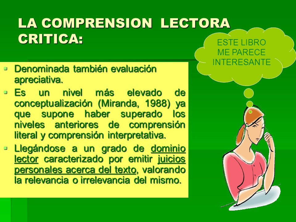 LA COMPRENSION LECTORA CRITICA: