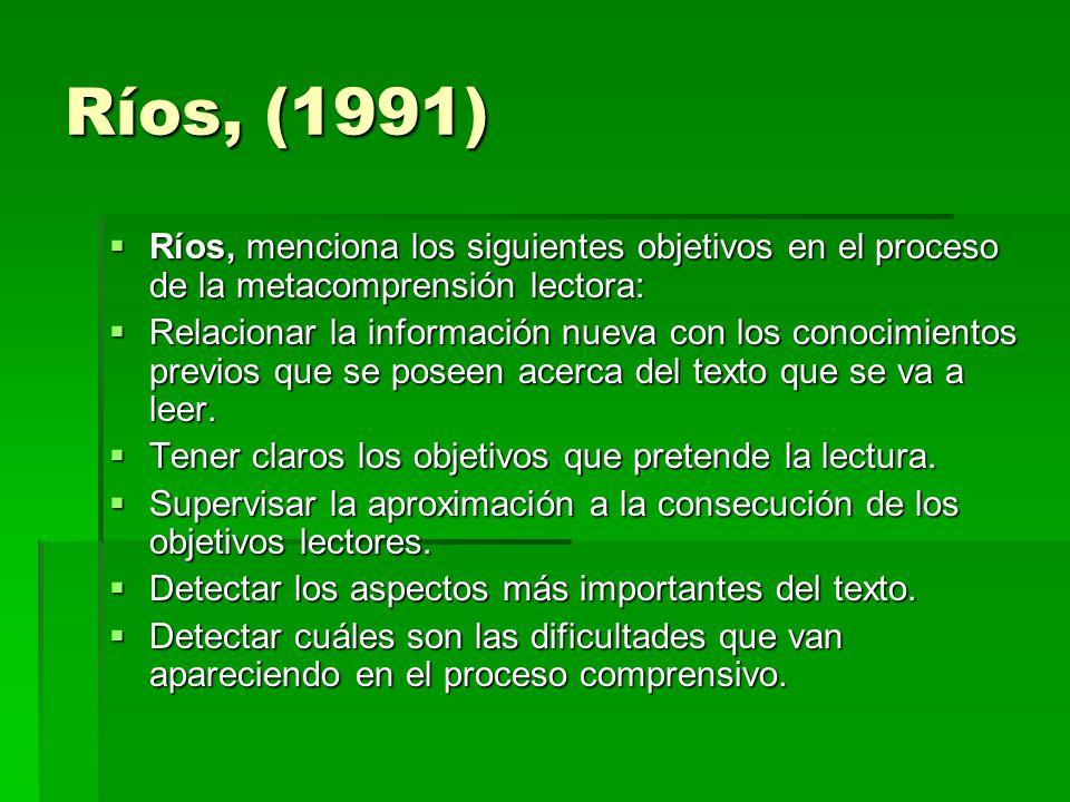 Ríos, (1991) Ríos, menciona los siguientes objetivos en el proceso de la metacomprensión lectora: