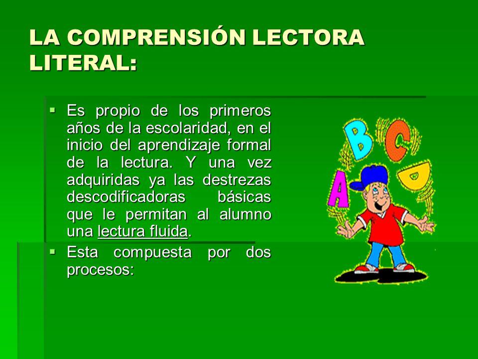 LA COMPRENSIÓN LECTORA LITERAL: