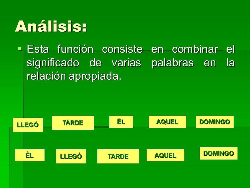Análisis: Esta función consiste en combinar el significado de varias palabras en la relación apropiada.