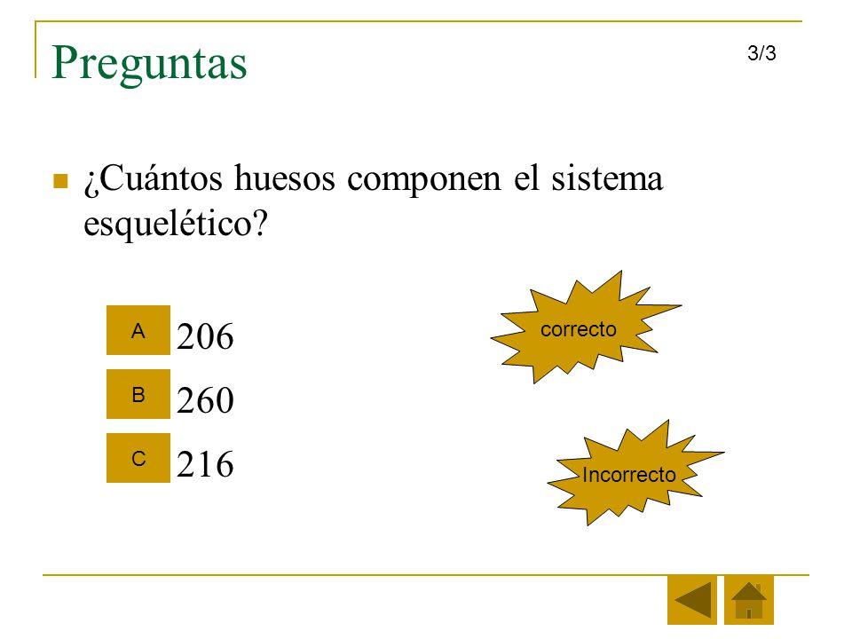 Preguntas ¿Cuántos huesos componen el sistema esquelético 206 260 216