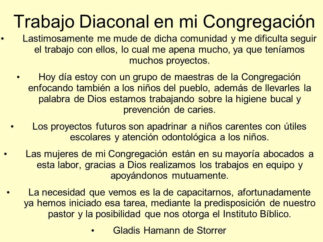 Trabajo Diaconal en mi Congregación