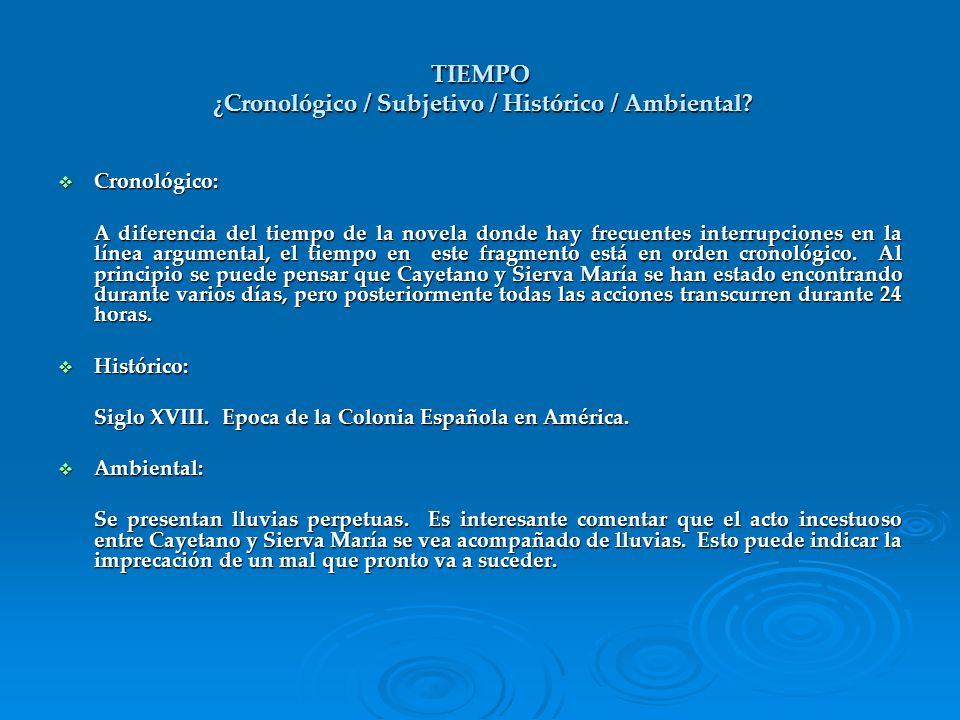 TIEMPO ¿Cronológico / Subjetivo / Histórico / Ambiental