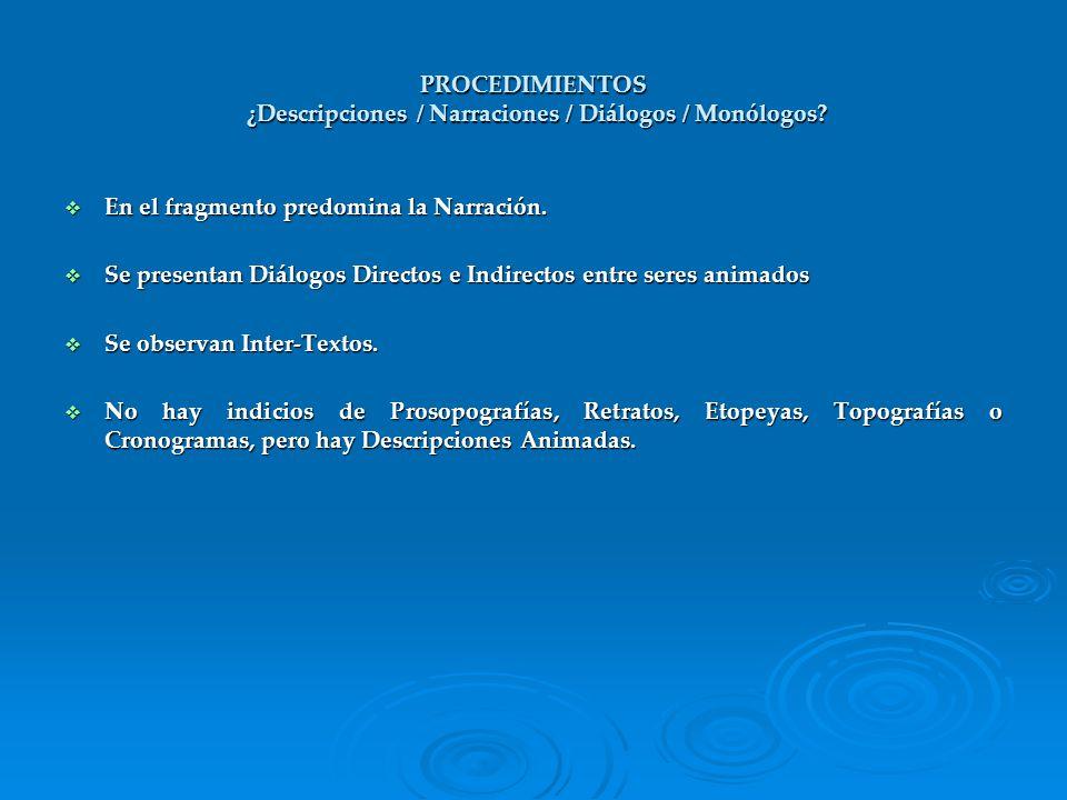 PROCEDIMIENTOS ¿Descripciones / Narraciones / Diálogos / Monólogos