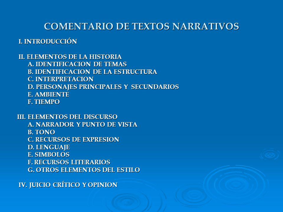 COMENTARIO DE TEXTOS NARRATIVOS