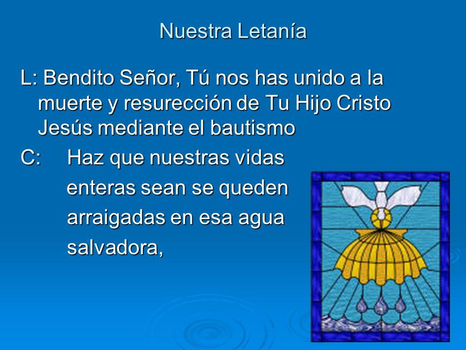 Nuestra Letanía L: Bendito Señor, Tú nos has unido a la muerte y resurección de Tu Hijo Cristo Jesús mediante el bautismo.