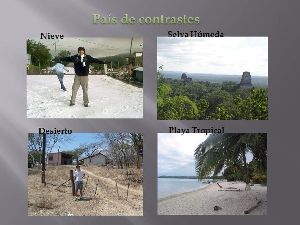 País de contrastes Nieve Selva Húmeda Desierto Playa Tropical