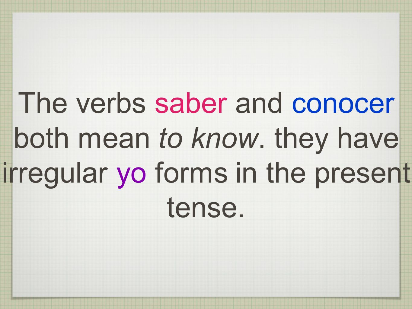 The verbs saber and conocer both mean to know