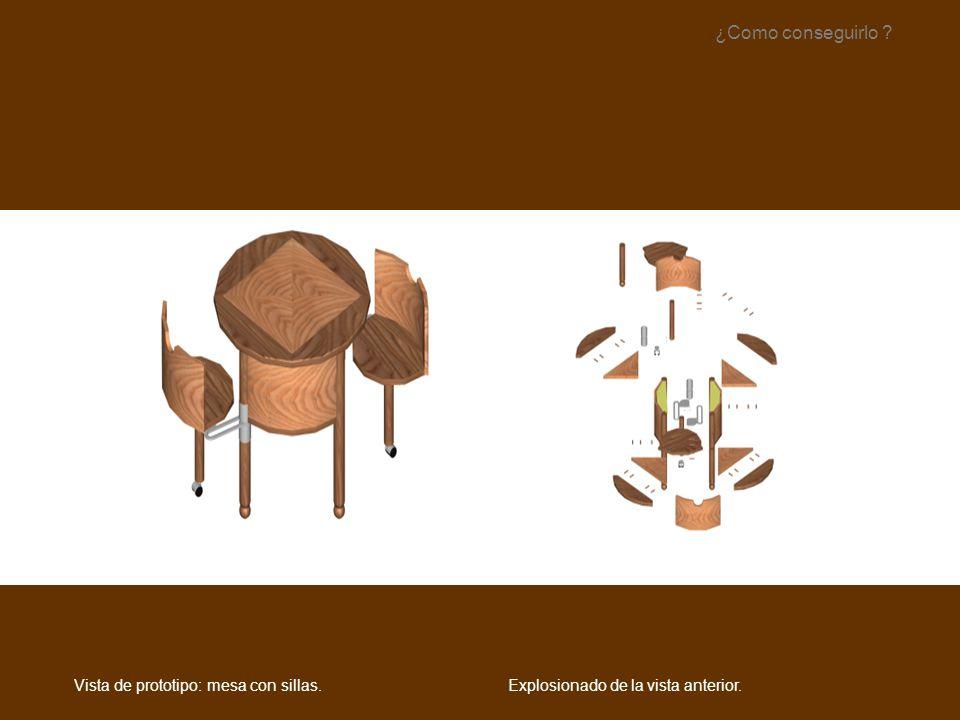 ¿Como conseguirlo Vista de prototipo: mesa con sillas.