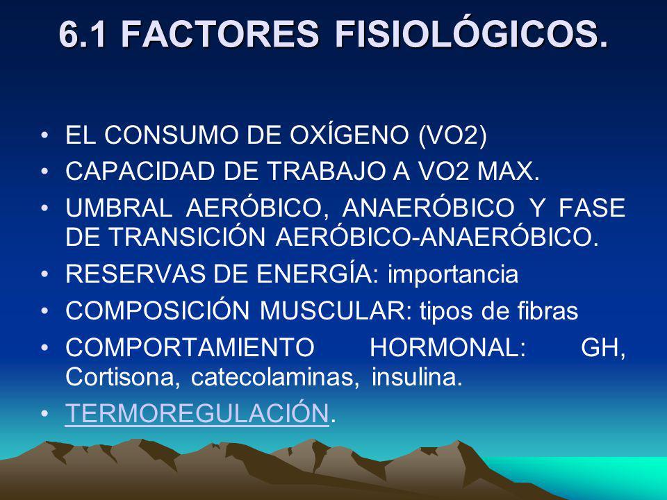 6.1 FACTORES FISIOLÓGICOS.