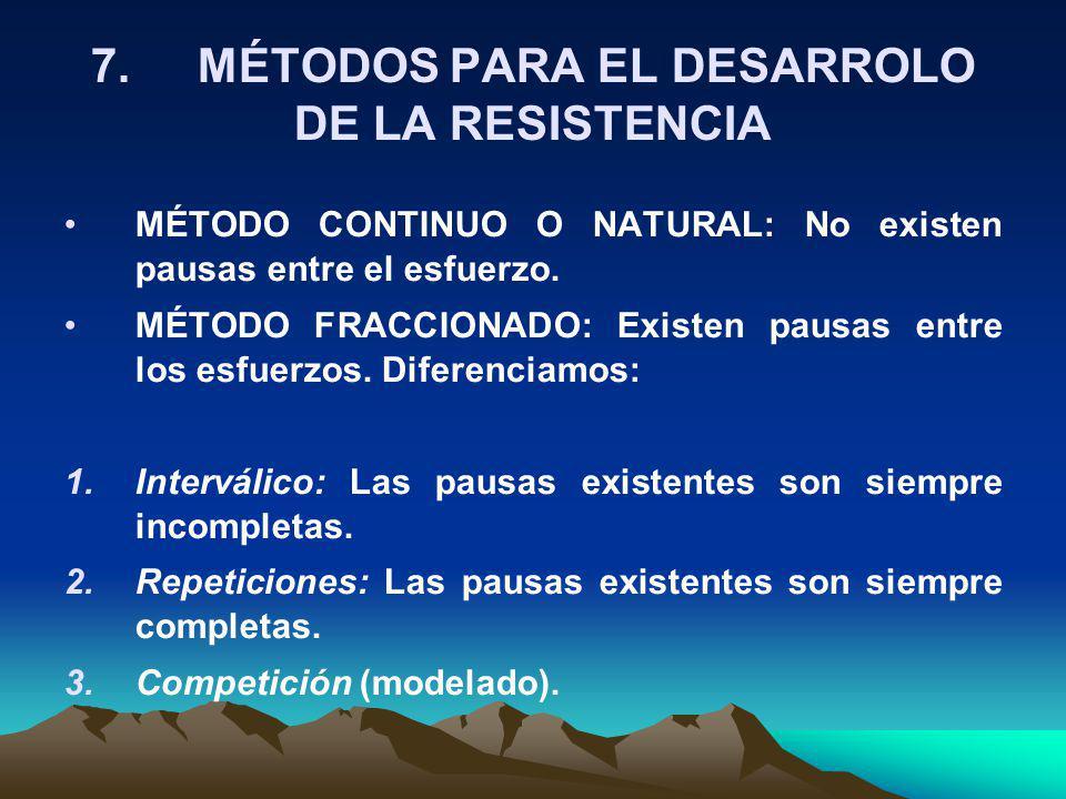 7. MÉTODOS PARA EL DESARROLO DE LA RESISTENCIA