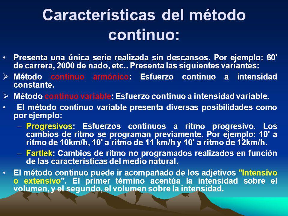 Características del método continuo: