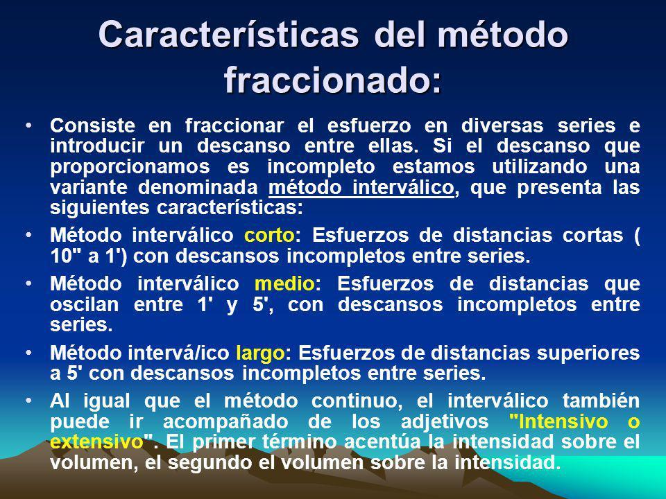 Características del método fraccionado: