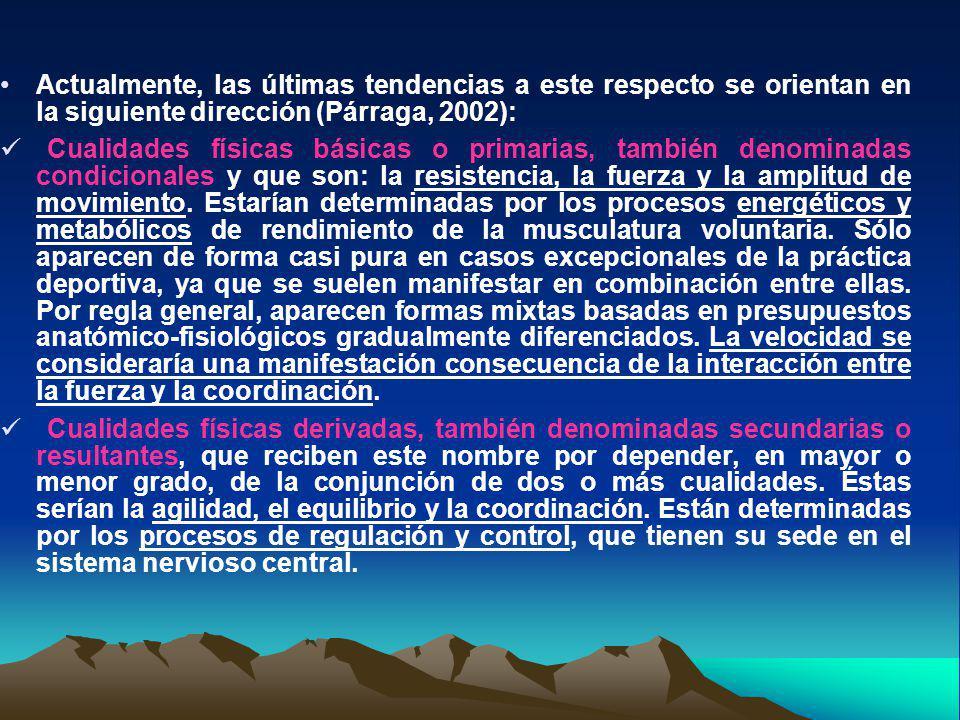 Actualmente, las últimas tendencias a este respecto se orientan en la siguiente dirección (Párraga, 2002):