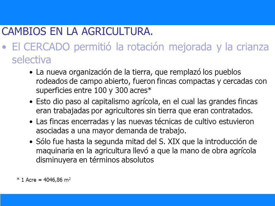 CAMBIOS EN LA AGRICULTURA.