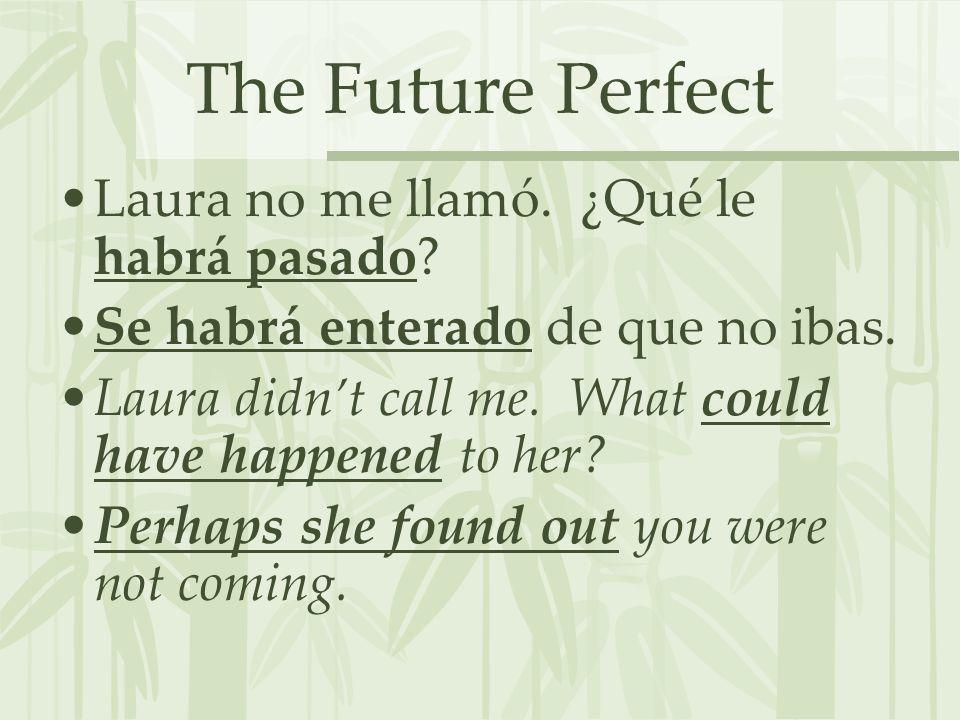The Future Perfect Laura no me llamó. ¿Qué le habrá pasado