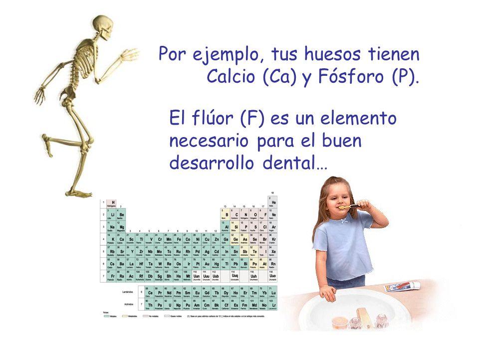 Por ejemplo, tus huesos tienen Calcio (Ca) y Fósforo (P).