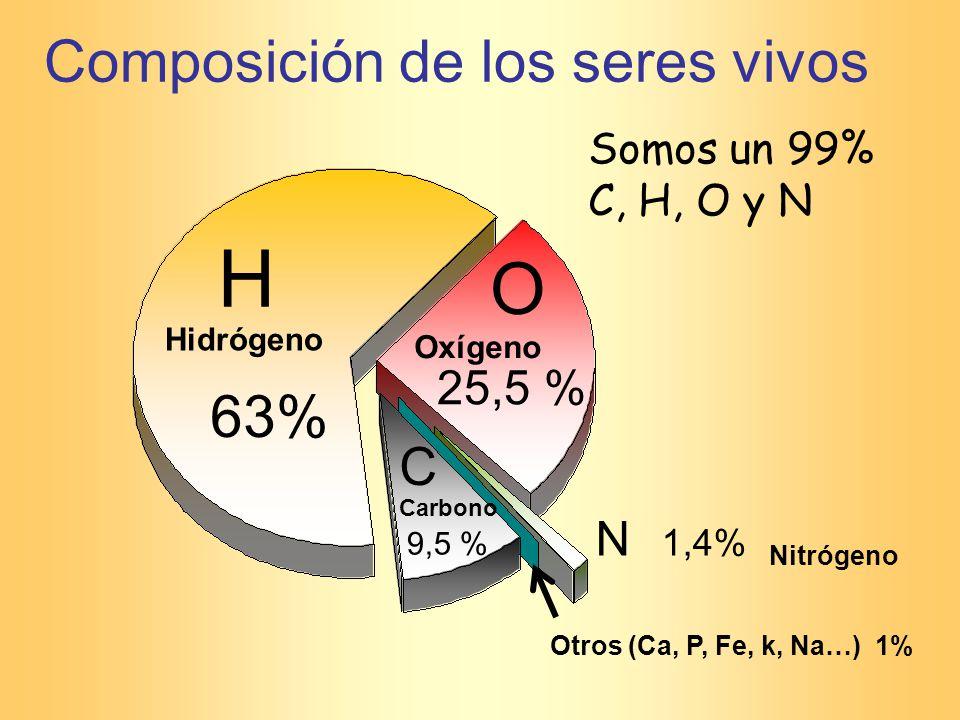 H O Composición de los seres vivos 63% C 25,5 % N 1,4%