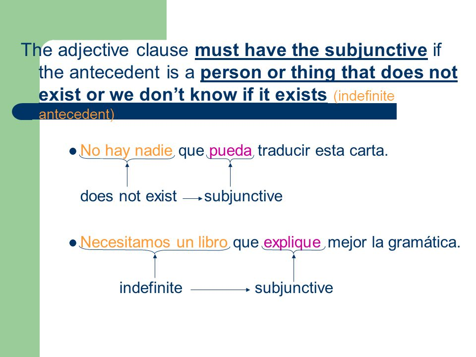The adjective clause must have the subjunctive if the antecedent is a person or thing that does not exist or we don't know if it exists (indefinite antecedent)
