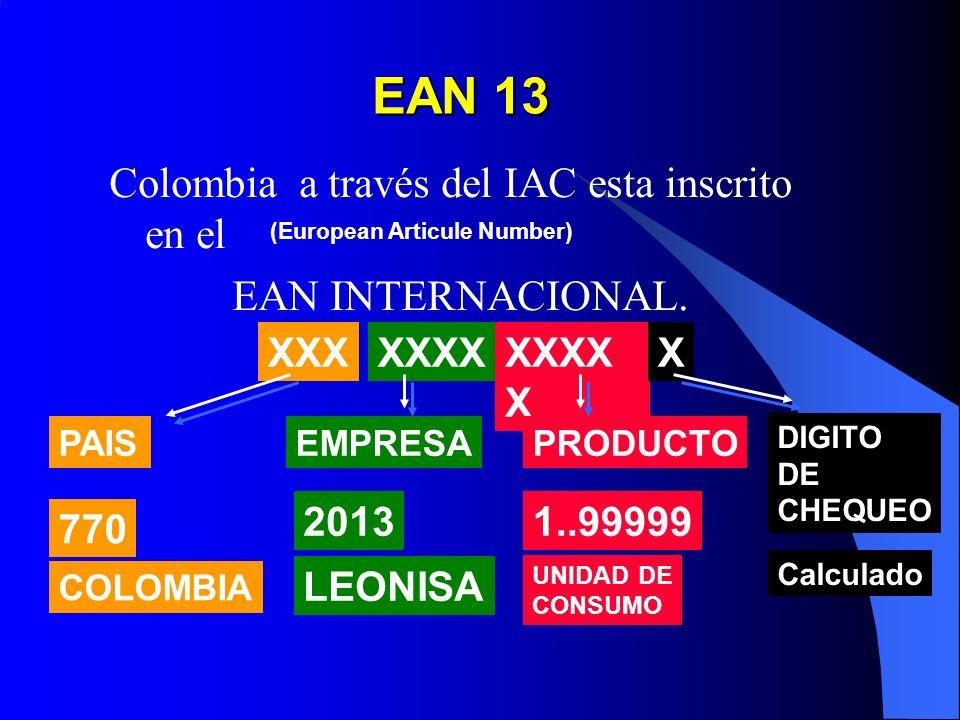 EAN 13 Colombia a través del IAC esta inscrito en el