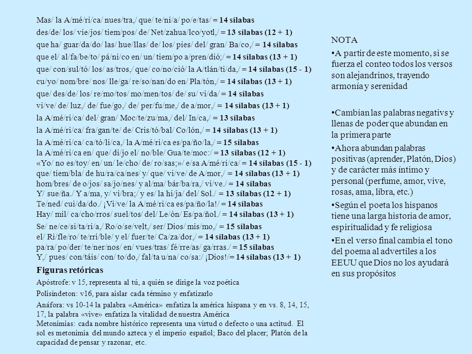 Mas/ la A/mé/ri/ca/ nues/tra,/ que/ te/ní/a/ po/e/tas/ = 14 sílabas