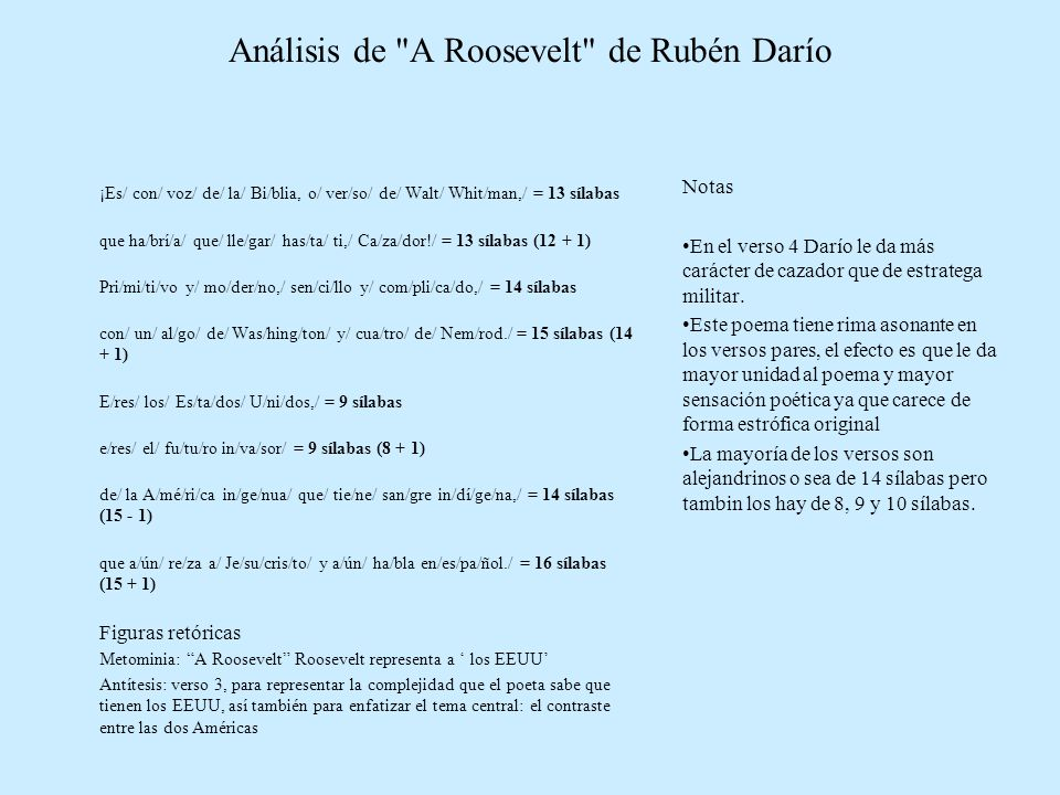 Análisis de A Roosevelt de Rubén Darío