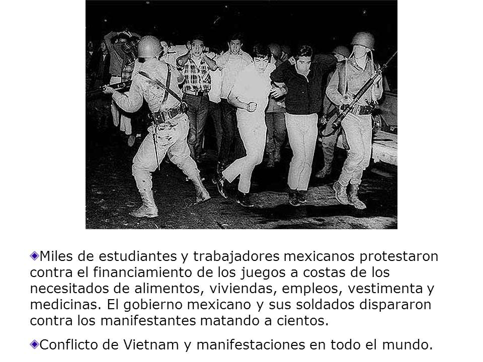 Miles de estudiantes y trabajadores mexicanos protestaron contra el financiamiento de los juegos a costas de los necesitados de alimentos, viviendas, empleos, vestimenta y medicinas. El gobierno mexicano y sus soldados dispararon contra los manifestantes matando a cientos.