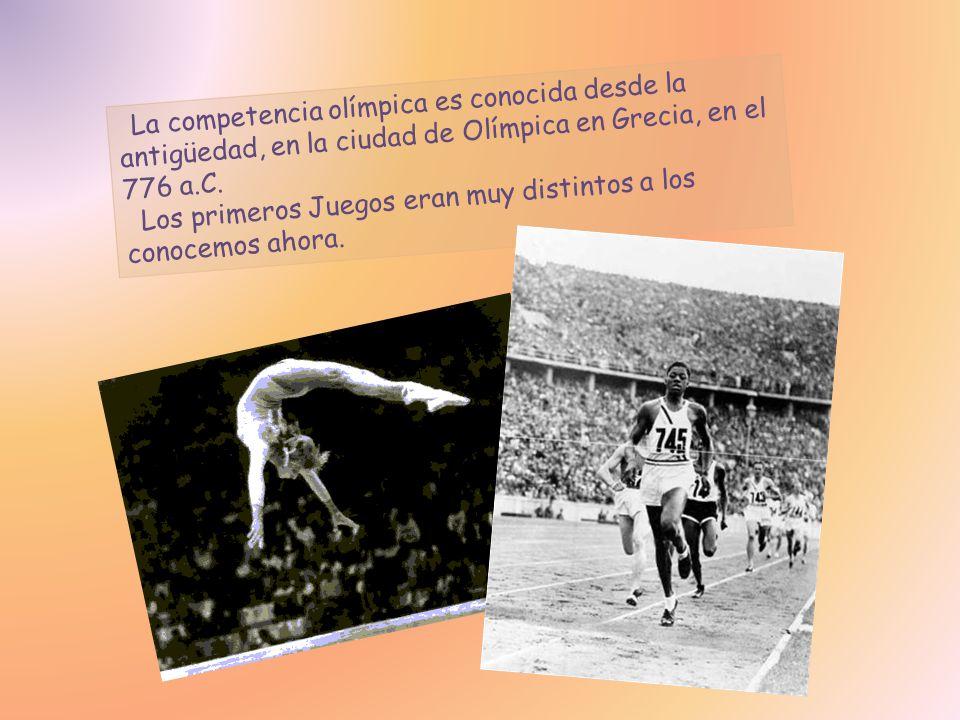 La competencia olímpica es conocida desde la antigüedad, en la ciudad de Olímpica en Grecia, en el 776 a.C.