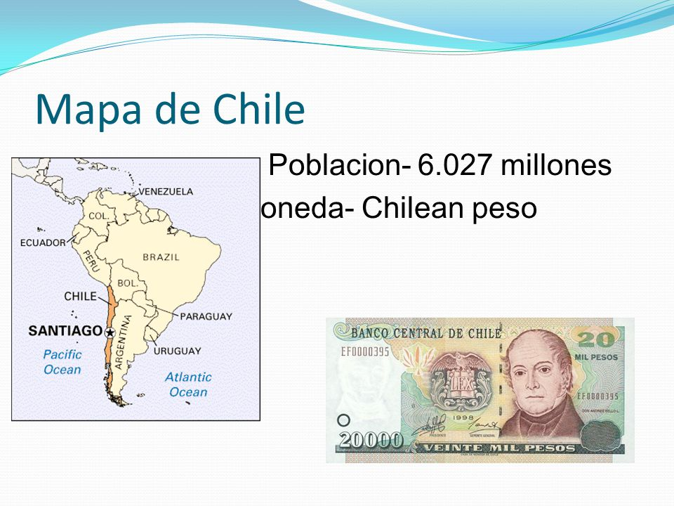 Mapa de Chile Poblacion- 6.027 millones Moneda- Chilean peso lean peso