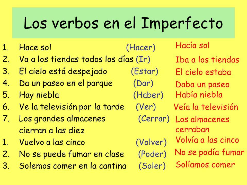 Los verbos en el Imperfecto