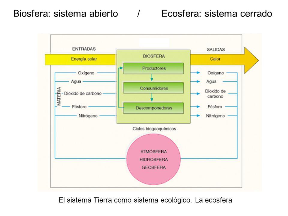 Biosfera: sistema abierto / Ecosfera: sistema cerrado