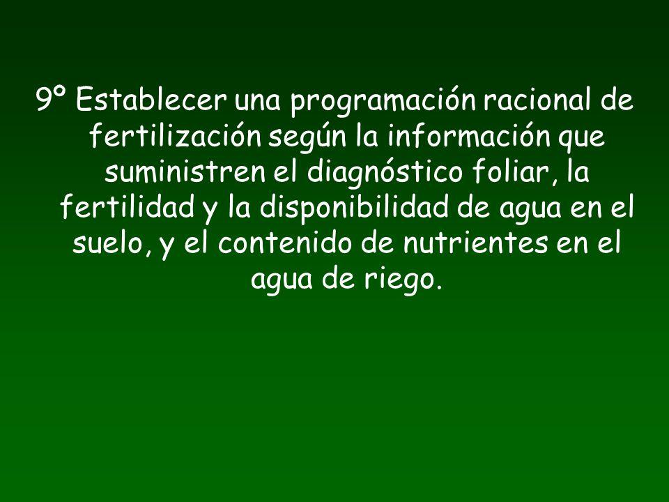 9º Establecer una programación racional de fertilización según la información que suministren el diagnóstico foliar, la fertilidad y la disponibilidad de agua en el suelo, y el contenido de nutrientes en el agua de riego.