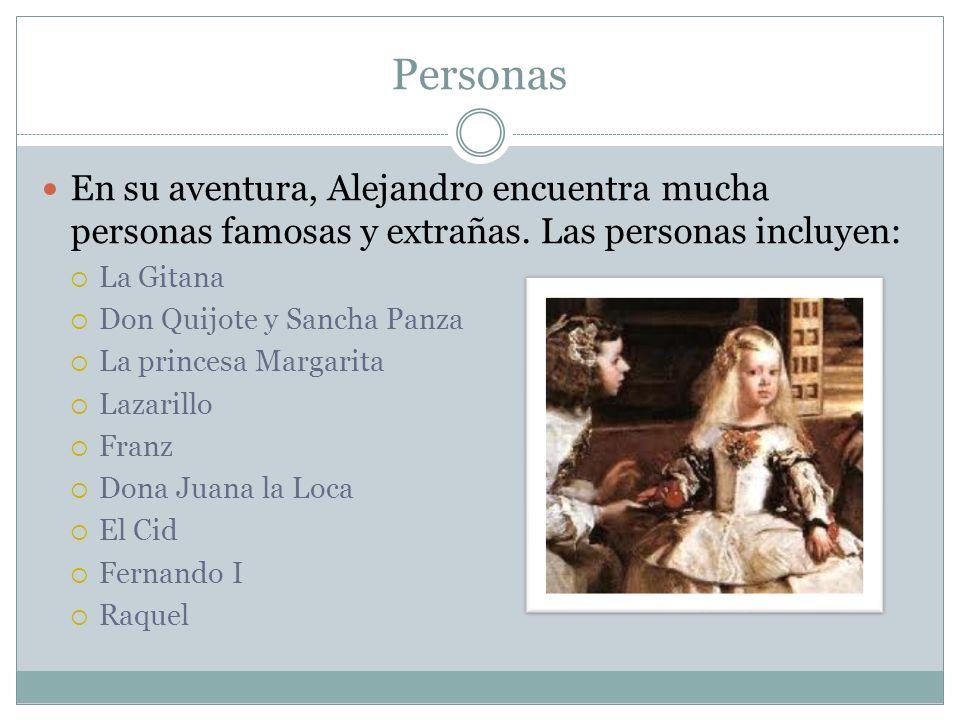 Personas En su aventura, Alejandro encuentra mucha personas famosas y extrañas. Las personas incluyen: