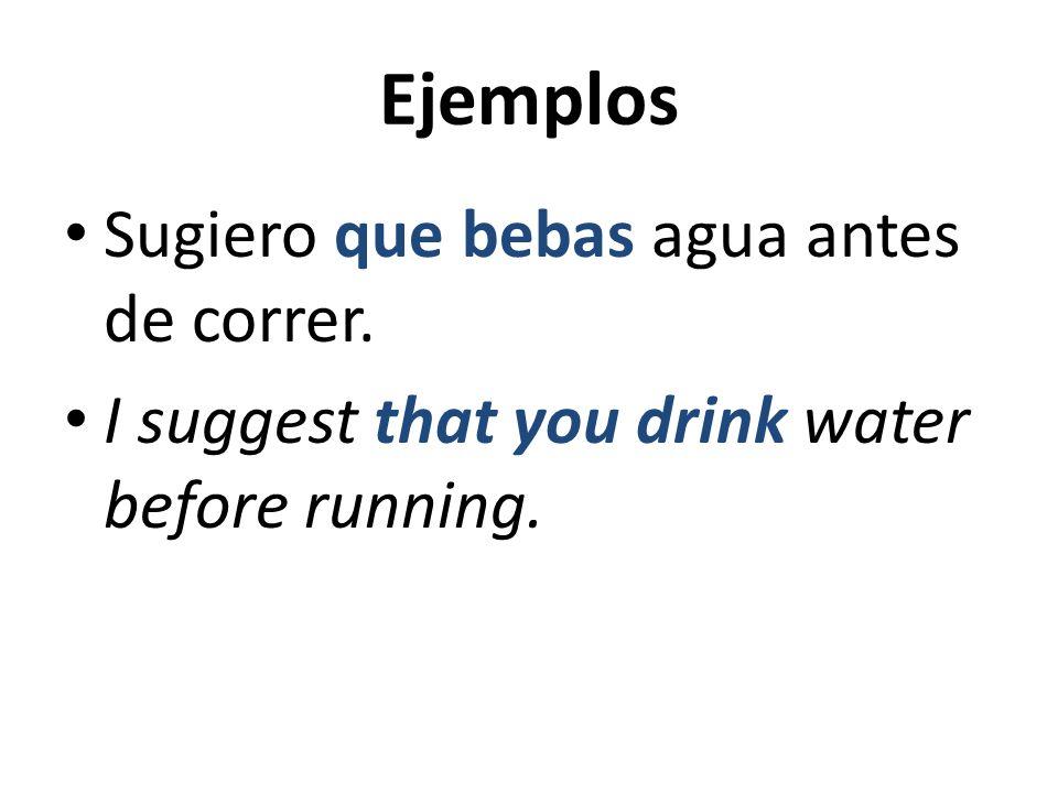 Ejemplos Sugiero que bebas agua antes de correr.