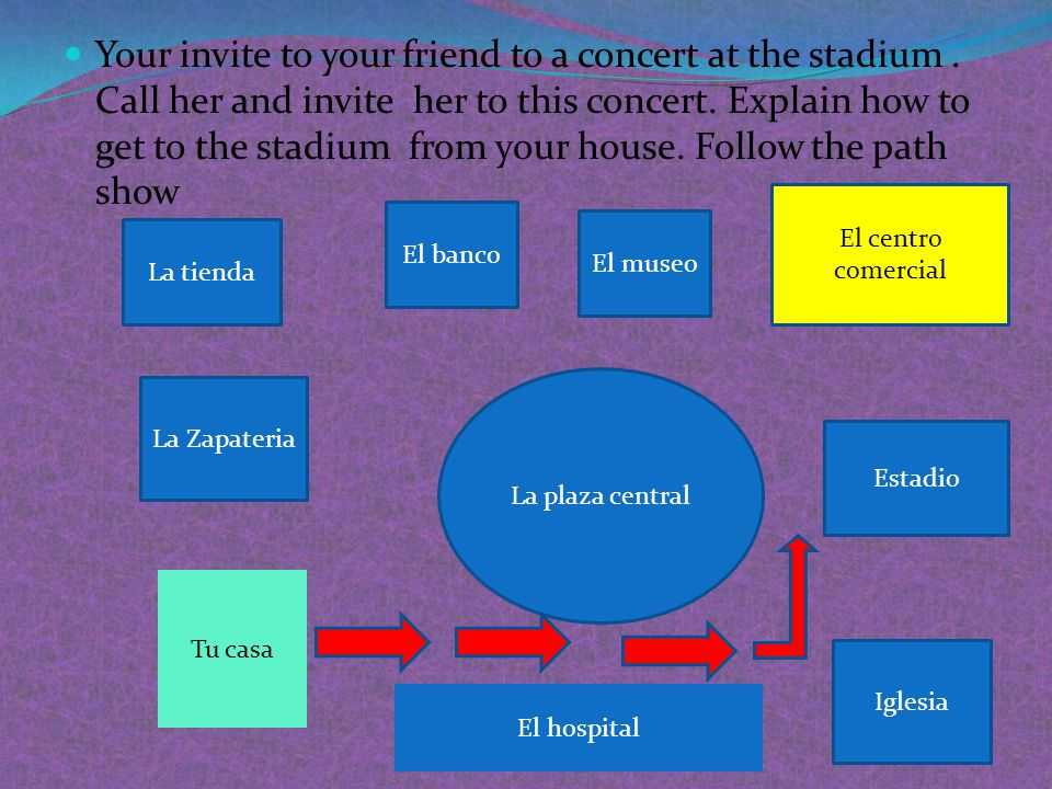 Your invite to your friend to a concert at the stadium